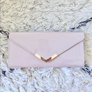 Aldo nude blush patent leather envelope clutch